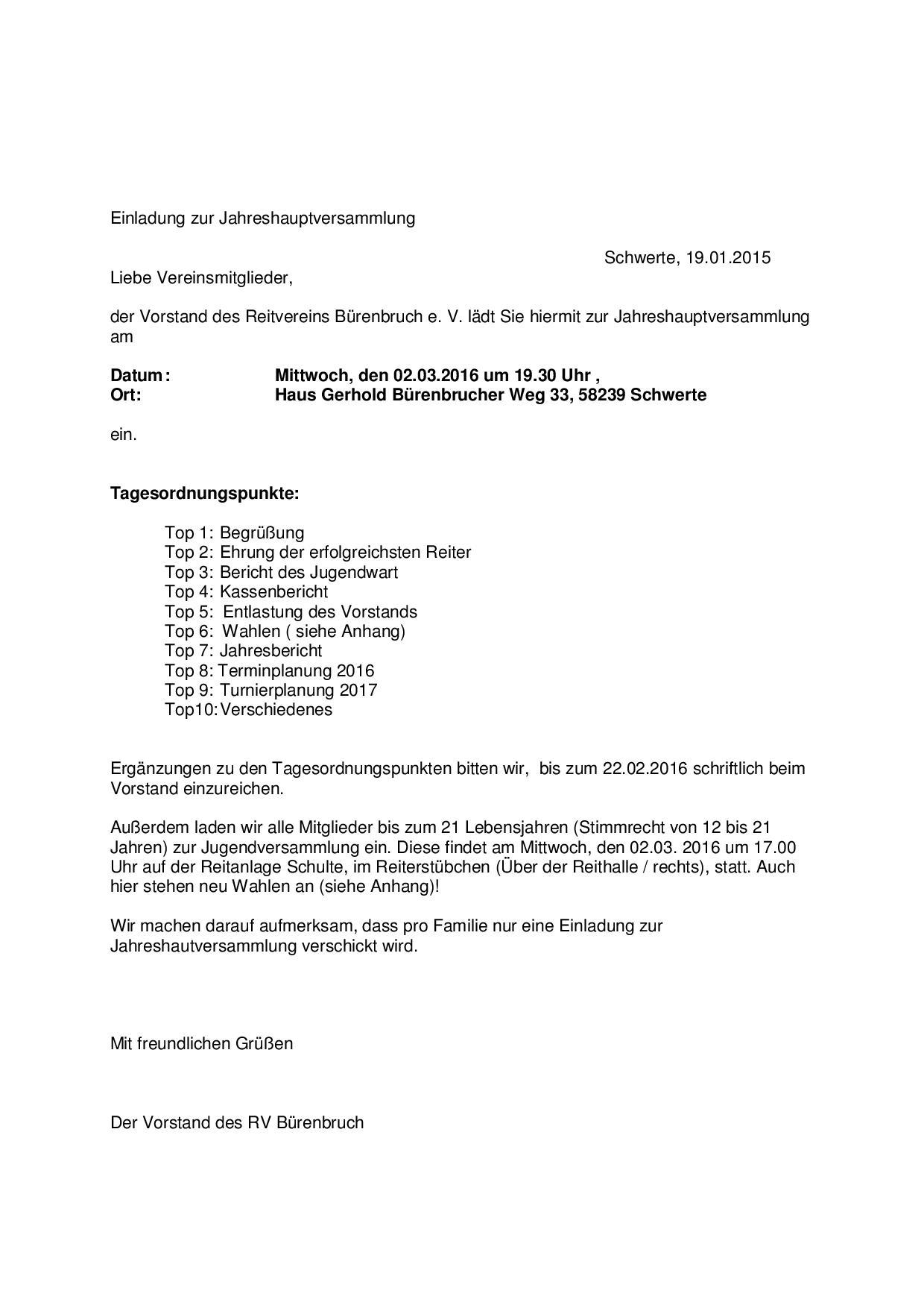 aktuelles archive - rv bürenbruch, Einladung